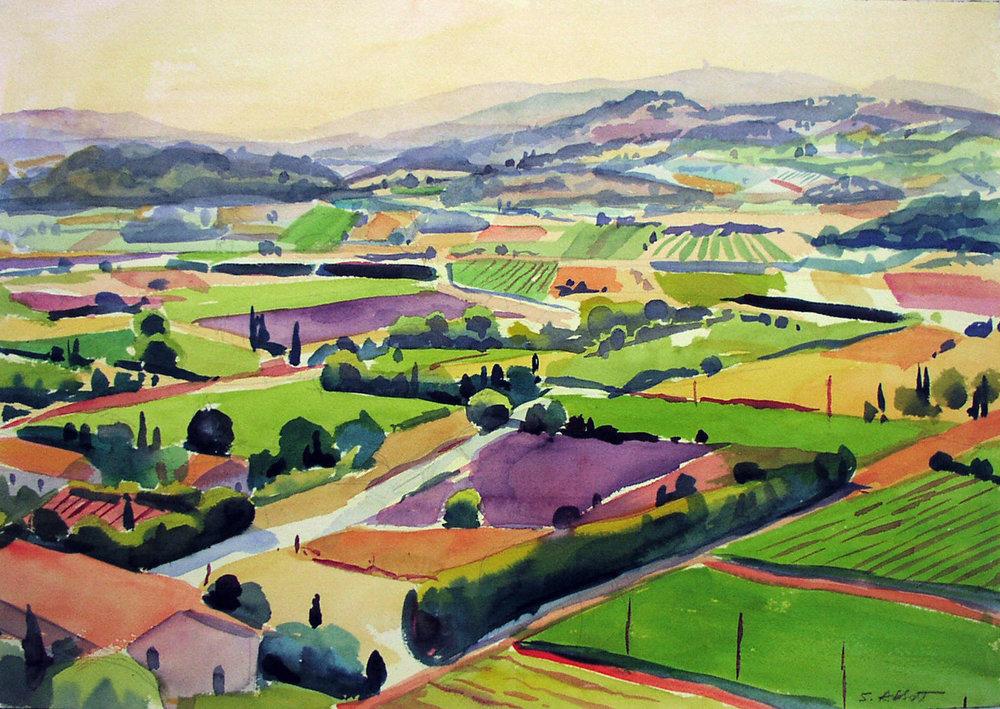 """Fields Near Gordes"", watercolor, 14"" x 20"", framed in maple 25"" x 29"", $450.00. Purchase  here ."