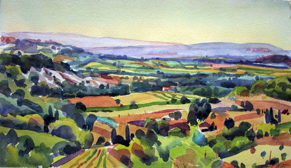 """""""Looking Into the Valley"""", watercolor, 9"""" x 15"""", framed in maple 19"""" x 25"""""""", $400.00 Purchase  here ."""