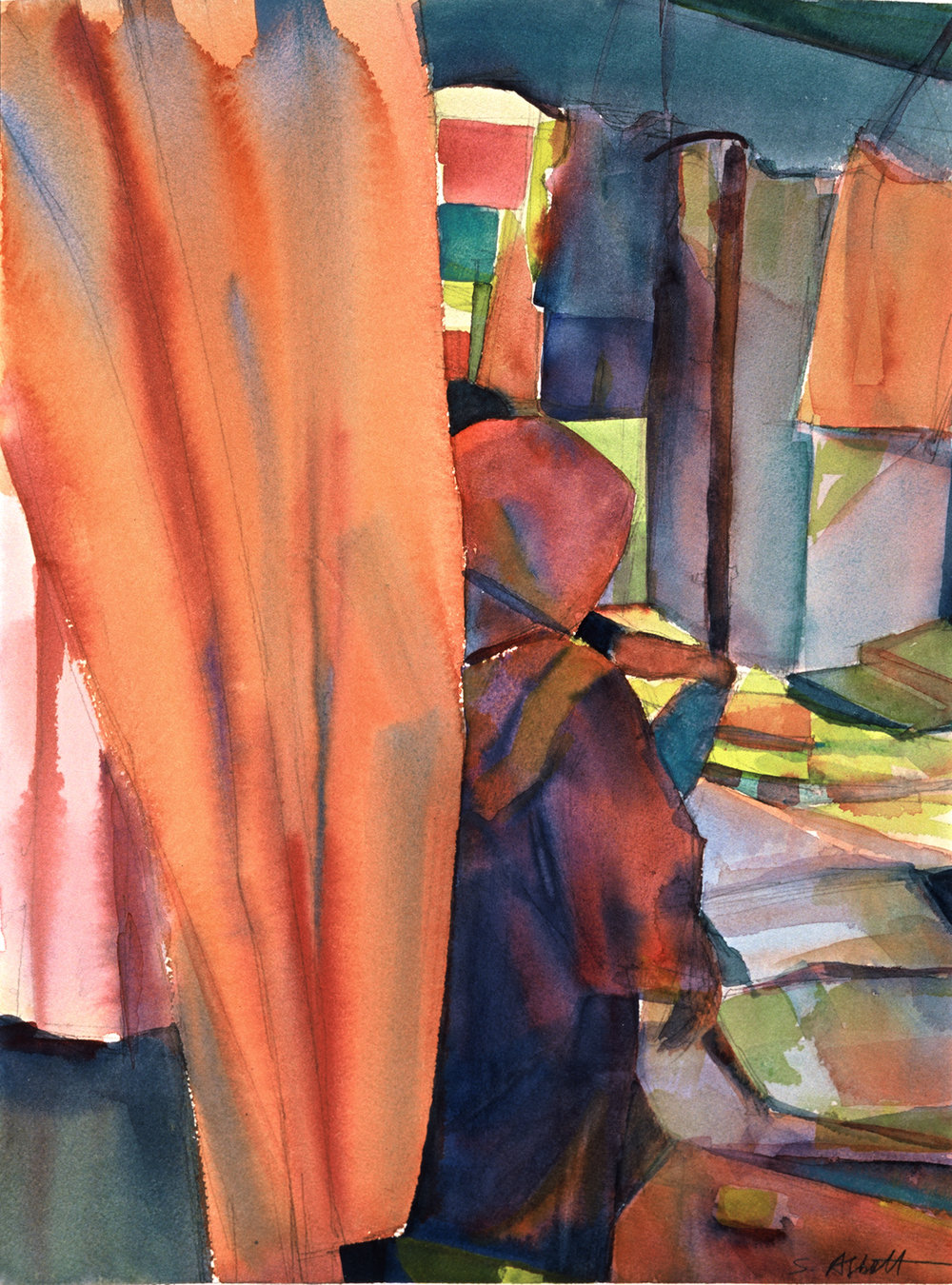 """""""Woman in the Apt Market"""", watercolor, 16"""" x 12"""", framed in maple 24"""" x 19"""", 450.00. Purchase  here ."""