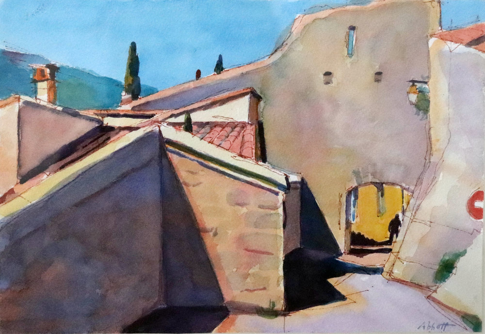 """""""Bonnieux Walls"""", watercolor, 7"""" x 10"""", framed in gold 15"""" x 18"""", $275. Purchase  here ."""