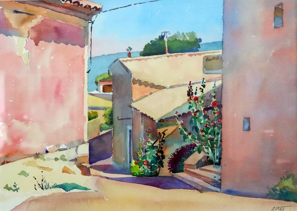 """Street in Murs"", watercolor, 10"" x 14"", framed in gold 18"" x 22"", $350.00.  SOLD"