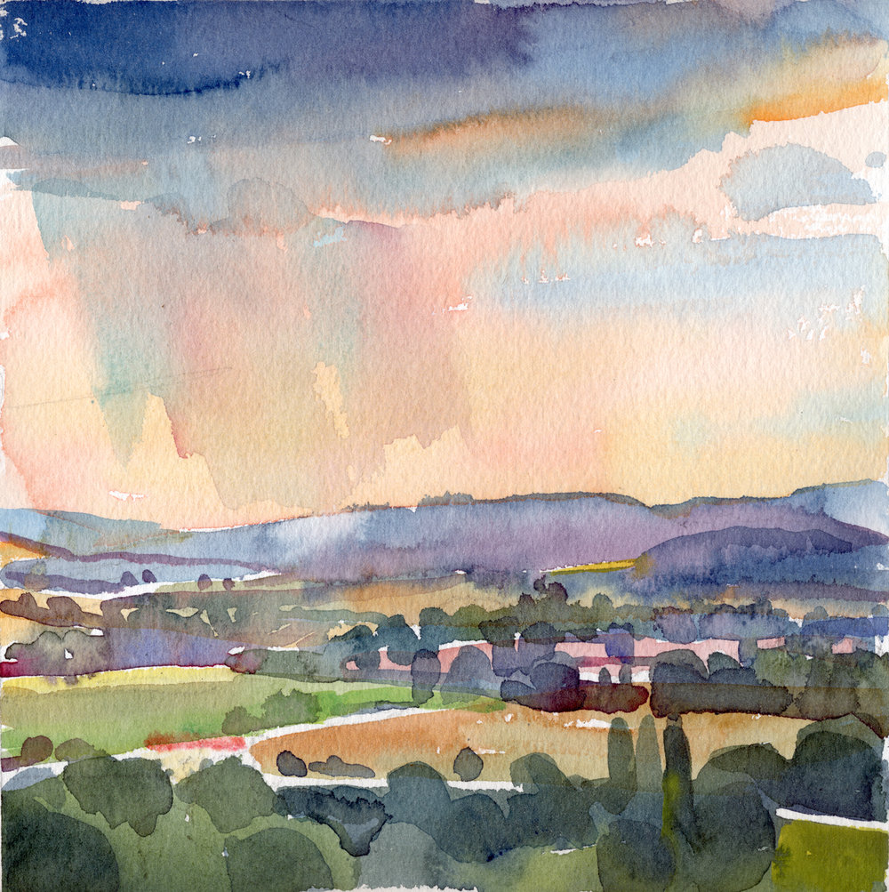 """""""Sudden Storm Over the Luberons"""", watercolor, 12"""" x 12"""", framed in gold 15"""" x 15"""", $290.00. Purchase  here ."""