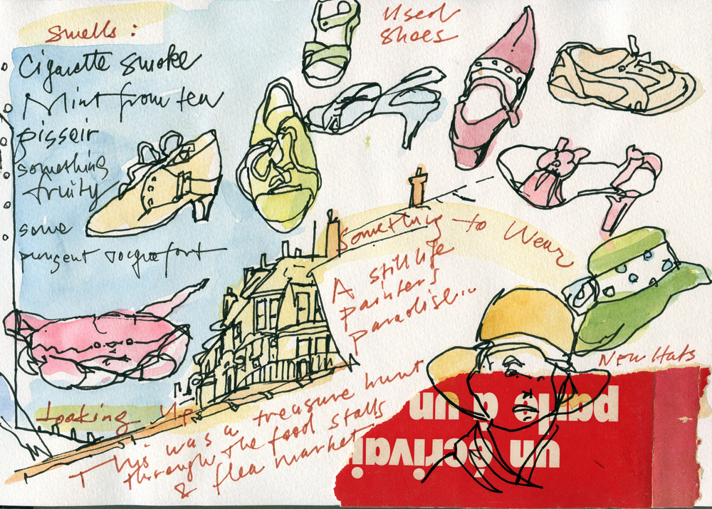 """All images are from Susan Abbott's Paris sketchbook; 7"""" x 9""""; pen, watercolor, collage"""