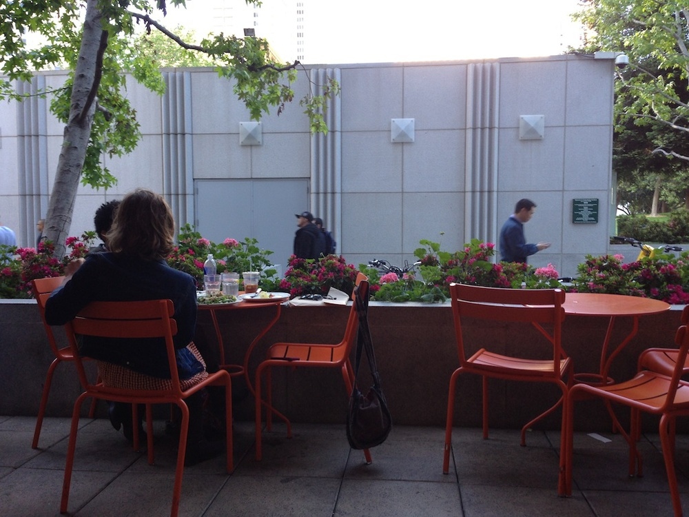 Happiness is all in your perspective, isn't it? Chellie Campbell La Boulange Patio at the Metreon Photo: Lynne Azpeitia
