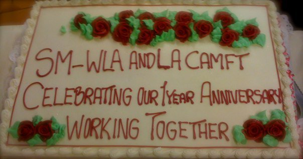 Cake Celebrating 1 year anniversary of our collaboration. Served at the April Networking Meeting.  Photo: Lynne Azpeitia