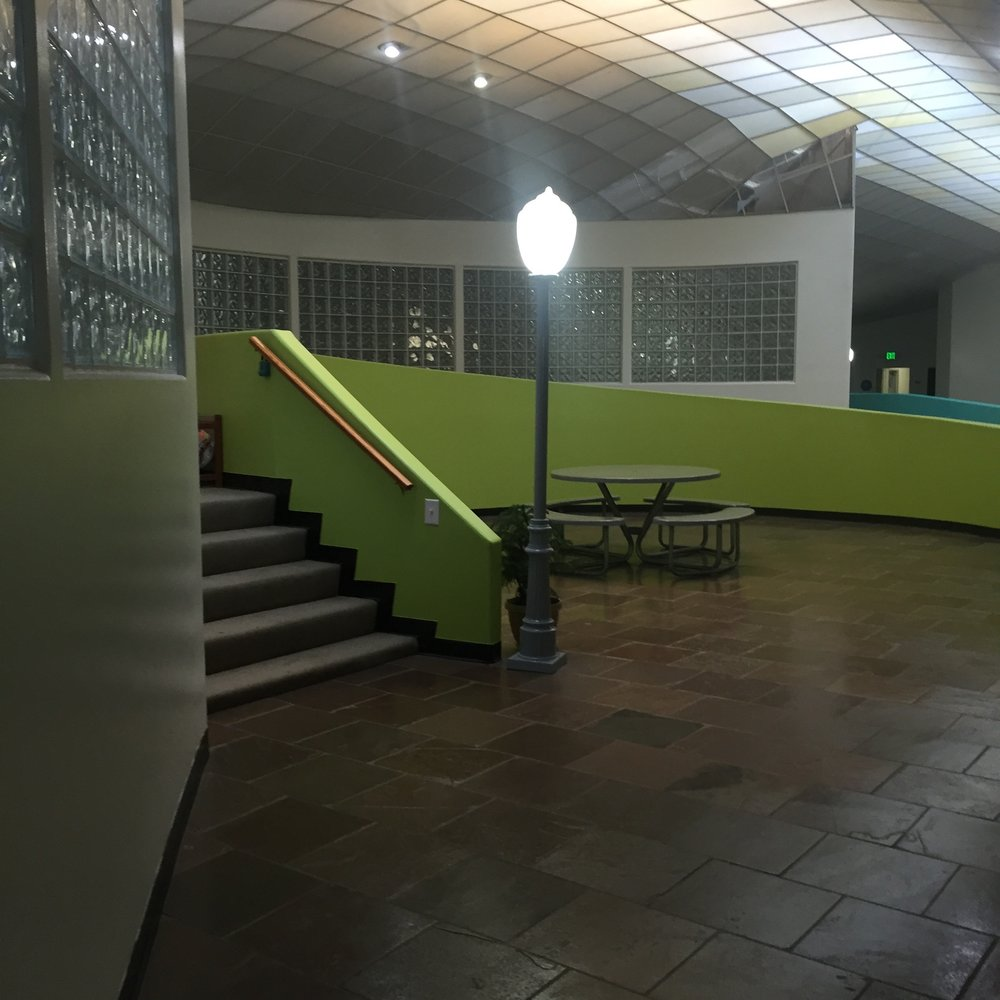 Main Atrium & Waiting Area. Lynne Azpeitia's Office is to the left, up the stairs.