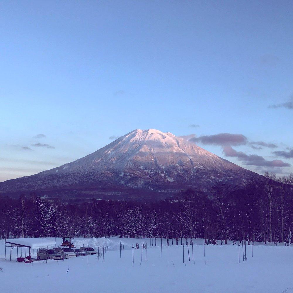 Admiring the majestic Mt. Yotei volcano