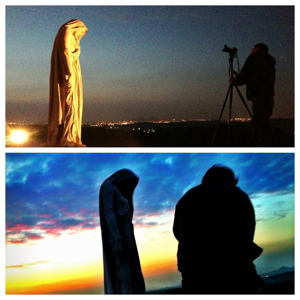 """Nick Lachance and Matt Symes photograph 'Mother Canada"""" at Vimy Ridge"""
