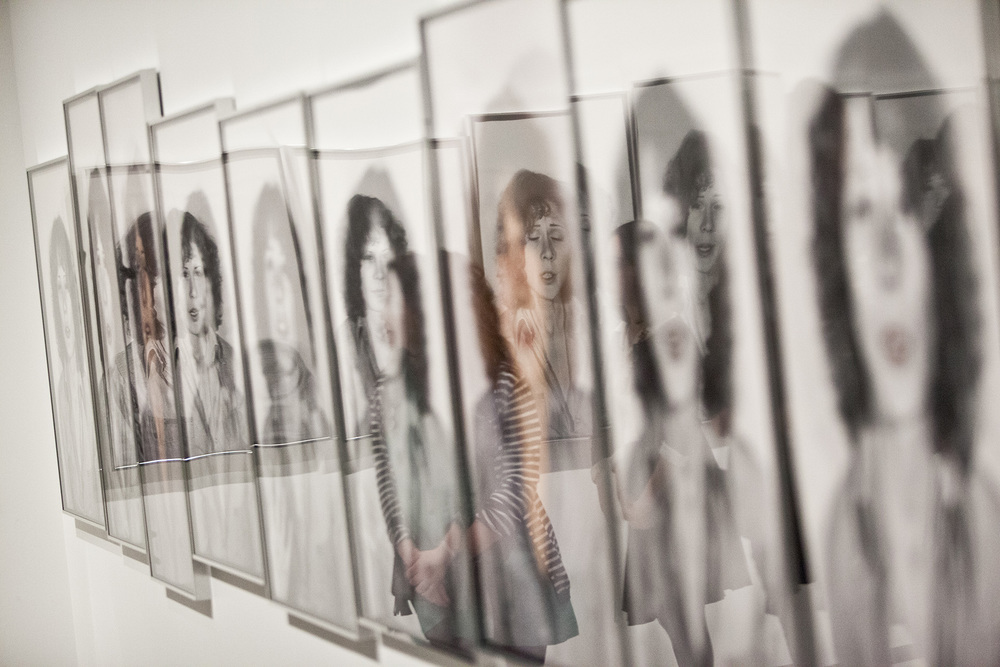 "A young woman can be seen in the reflection of Suzy Lake's 1979 photographic exploration of identity ,  ""Are you talking to Me?"" part of a special exhibit at the AGO, March 2015."