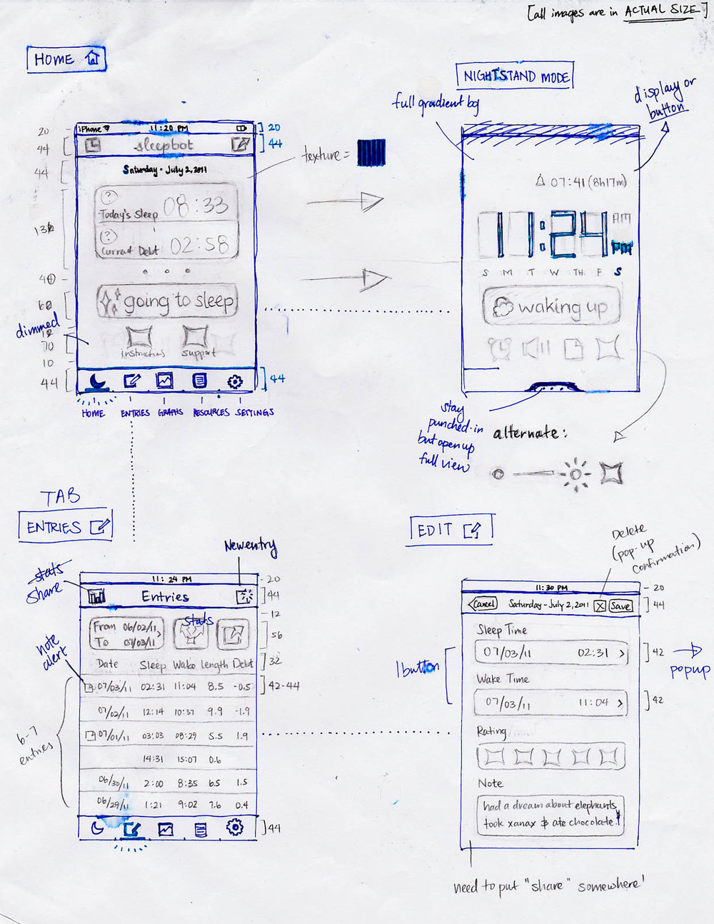 iOS wireframes 2011