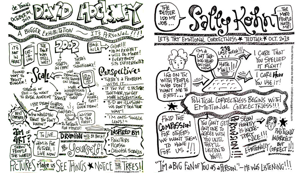 Sketchnotes: David Hockney, Sally Kohn, & Teresa Amabile