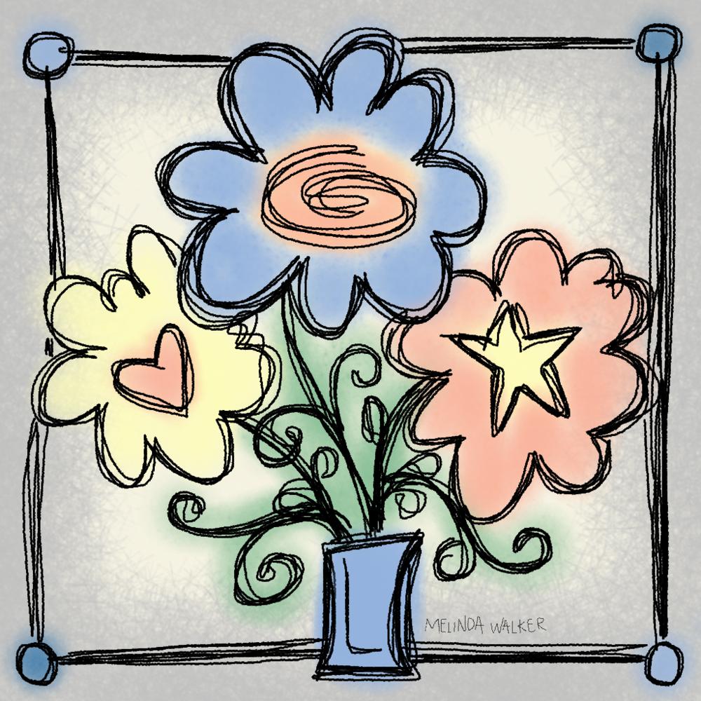 Random Flower Doodle on iPad