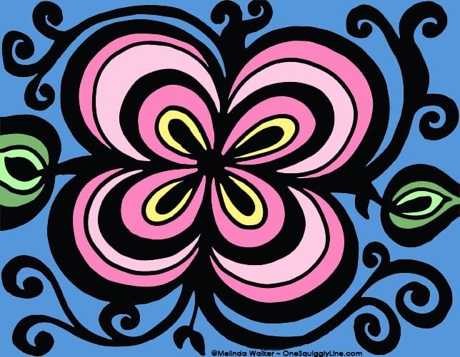 FlowerDoodle_ThickThinConcentricLines_MelindaWalker_OneSquigglyLine_Pink.jpg