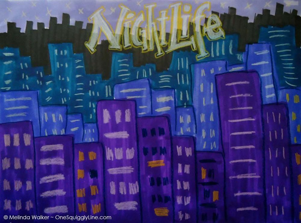 VisualThinking_Simple_Drawing_NightLife_Melinda_Walker_OneSquigglyLine