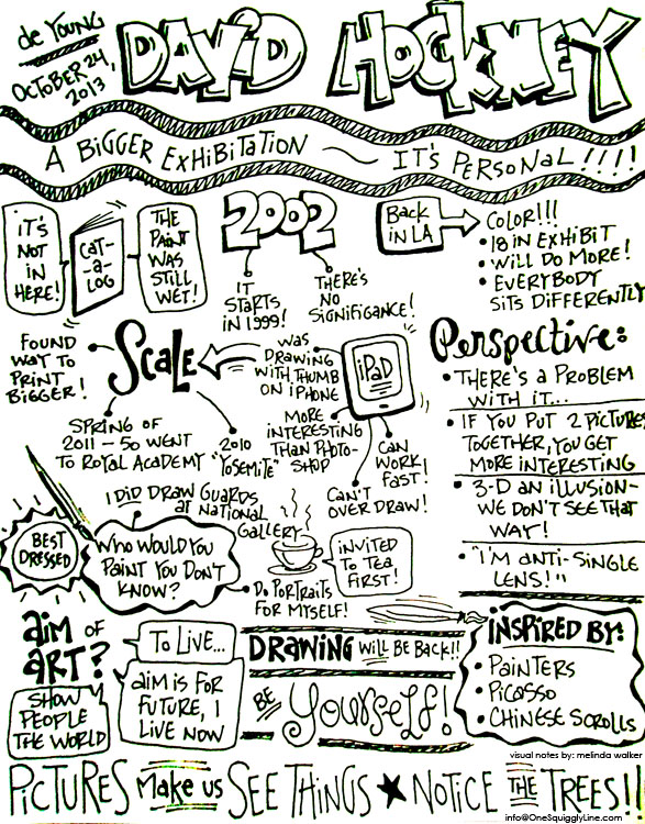 de Young Museum Interview with David Hockney Sketchnotes