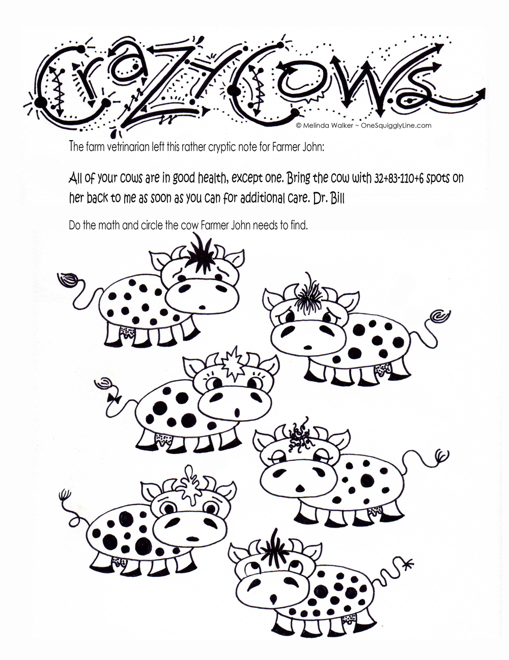 Kid's Activity Page: Crazy Cows