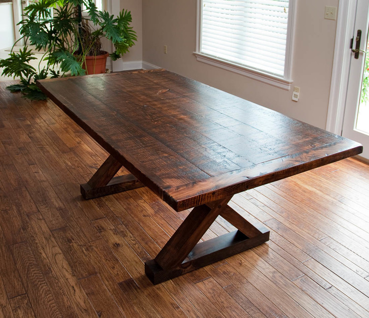 barn kitchen table crossed leg barn wood table by valebruckcom