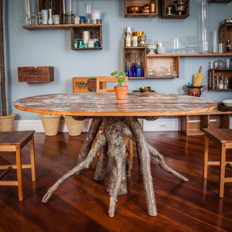 Salvaged barn wood - inverted tree table by valebruck.com