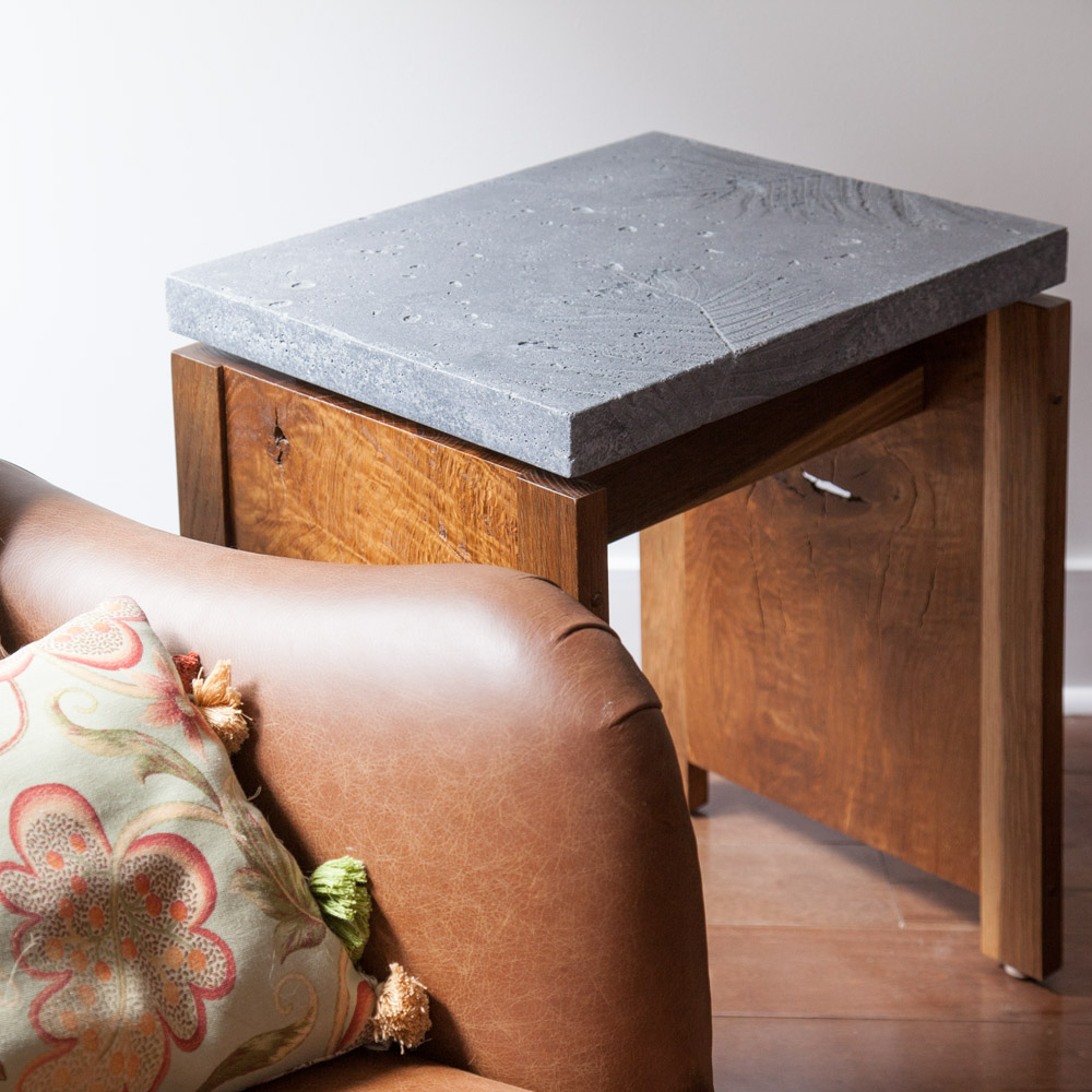 "Cement fern ""fossil"" side table by valebruck.com"