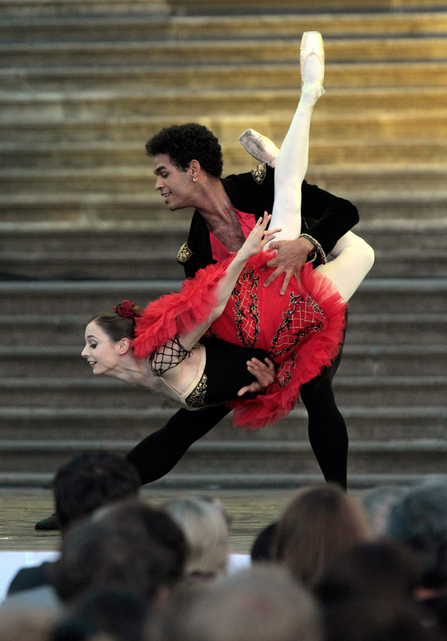 Jonah Acosta and Maria Kochetkova performing at Boris Eifman and Ballet Stars Gala at Mikhailovsky Castle in St. Petersburg. Photo by Alexey Danichev