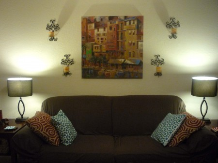 Living Room: Close up of Couch with Lamps