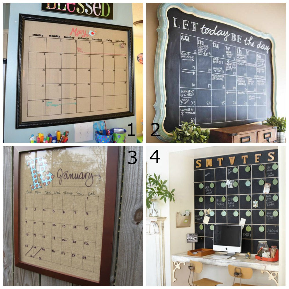 1. Magnetic Dry Erase Calendar by IC 2. Chalkboard Calendar by Sincerely, Sara D. 3. DIY Erase Calendar Wall Art by Cottage Hill 4. By County Living
