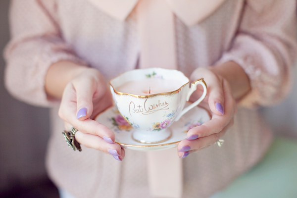 Photograph from DIY Vintage Teacup Candles by Hey Gorgeous