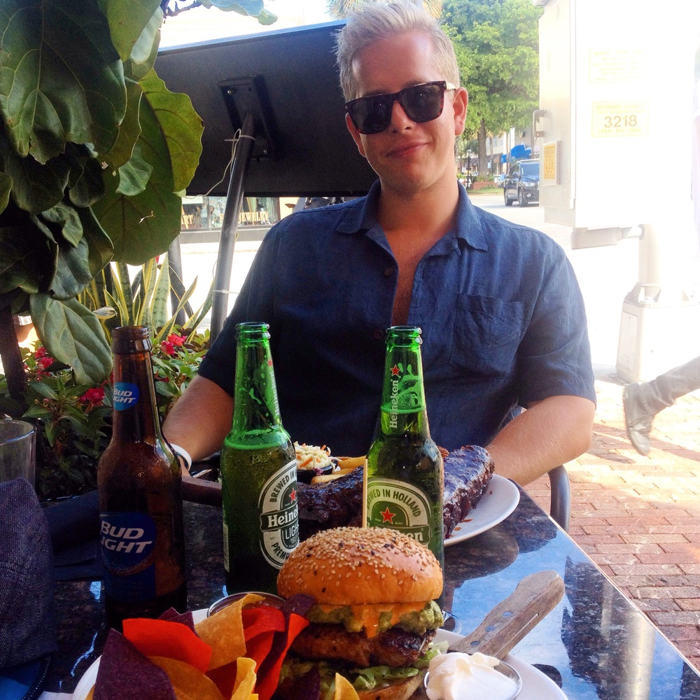 Burger and ribs at 'American Social Club' along Las Olas Blvd, the most vibrant street in Ft Lauderdale.