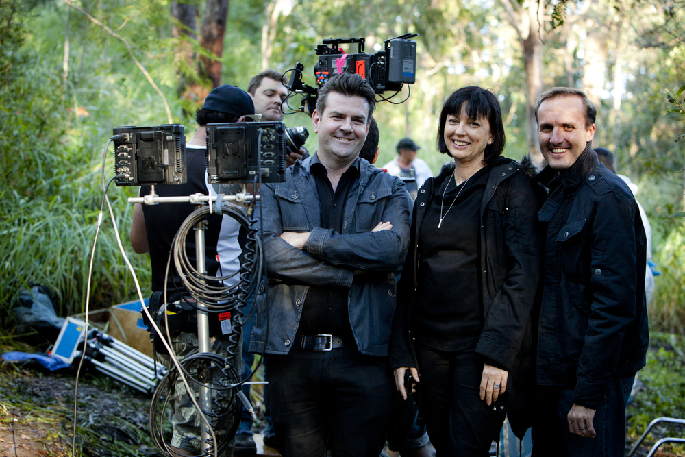 Members of the Hoodlum team (front from left): Founder and Chief Creative Officer, Nathan Mayfield; Founder and Chief Executive Officer, Tracey Robertson; Head of Television, Leigh McGrath.
