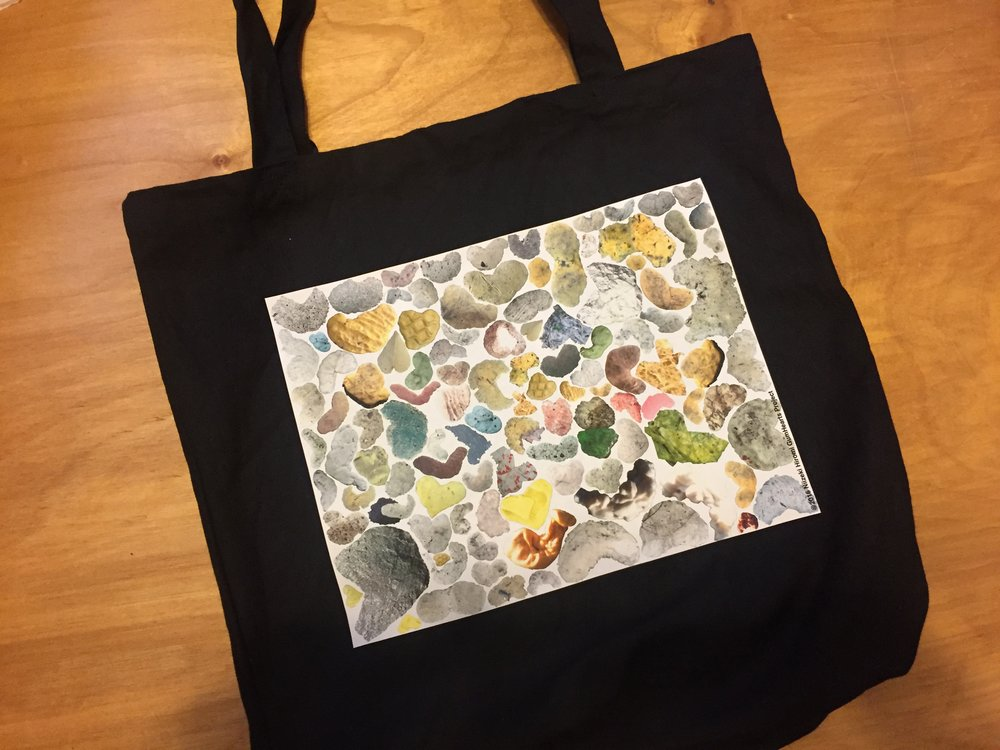 "GumHearts Tote, 15""x15""x4""  Heavy 10oz 100% cotton. Pre-washed and Shrunk. 24"" handles. Available in Black and Natural. Comes with a ring for key chain."