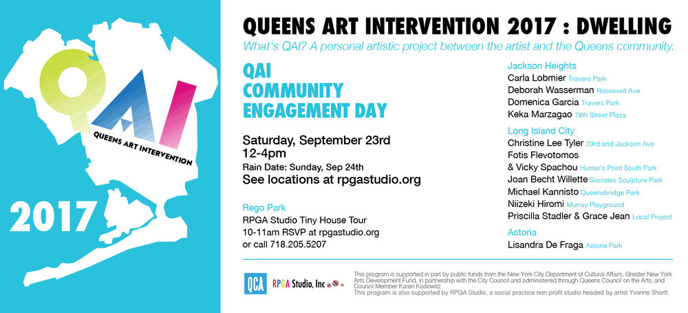 It is great to be able to participate QAI17, Queens wide Public Art Event as my 4th year. Thank you. Yvonne Shortt, for your great effort to make it happen again.