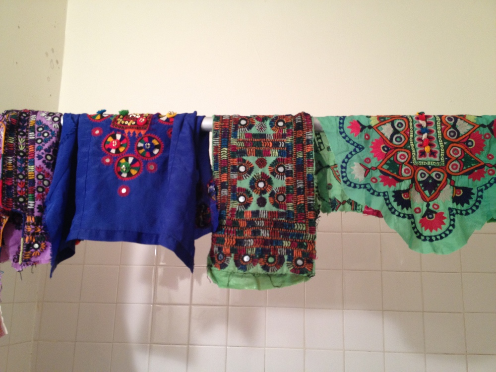 hand-washing the embroideries