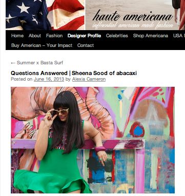Q&A with Haute Americana,    June 2013