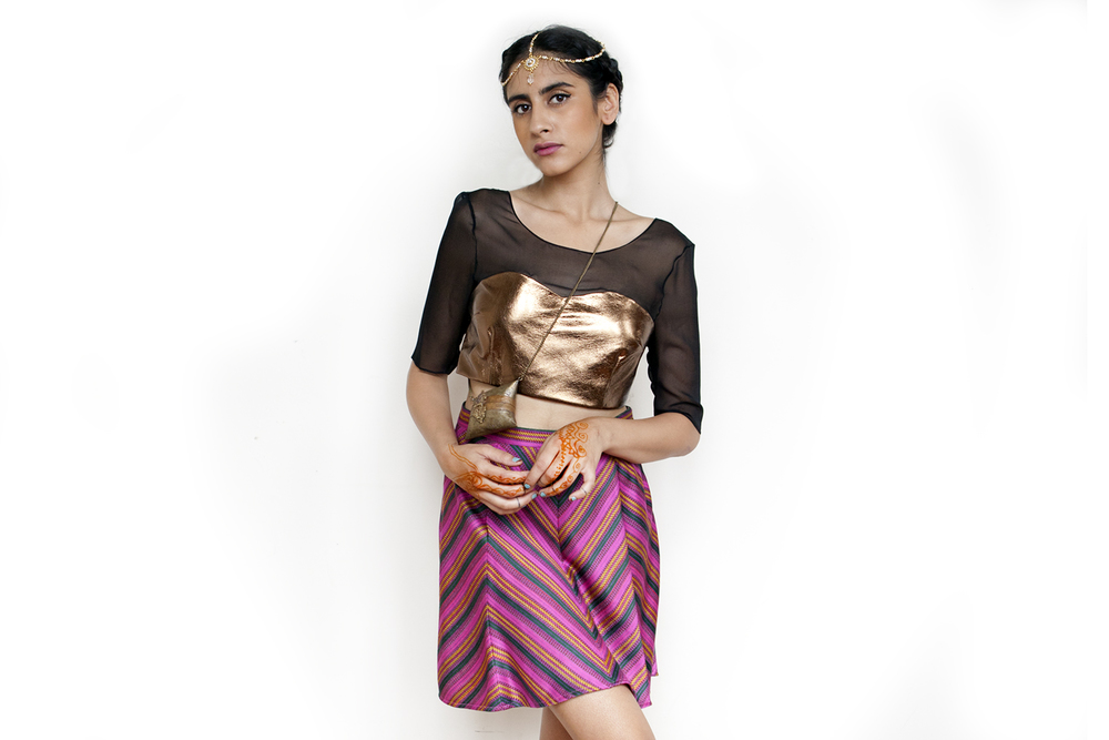 Spring-Summer 2014 is on its way to ya soon!  Pictured here:  copper leather sari blouse with handloom-stripe circle skirt.