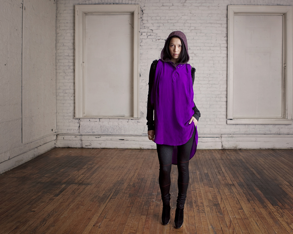 Violet Silk Shirtdress, Aubergine Hooded Vest, Churidar Leggings