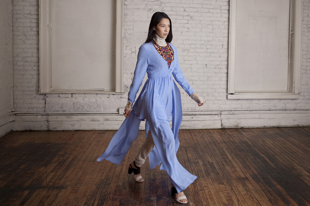 Silk Maxi Shrug, Drop-Waist Shift Dress, Churidar Leggings and Turtleneck