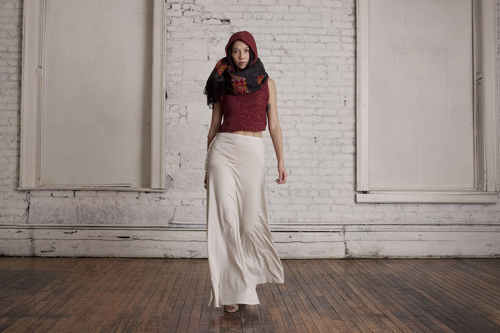 Beaded Maxi Slit Skirt, Hooded Vest, Himachal Shawl