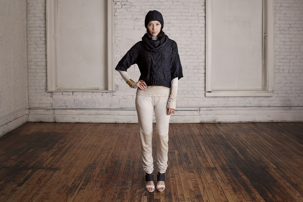 Boxy Cable Sweater, Churidar Turtleneck and Leggings, Fauxhawk Cable Cap