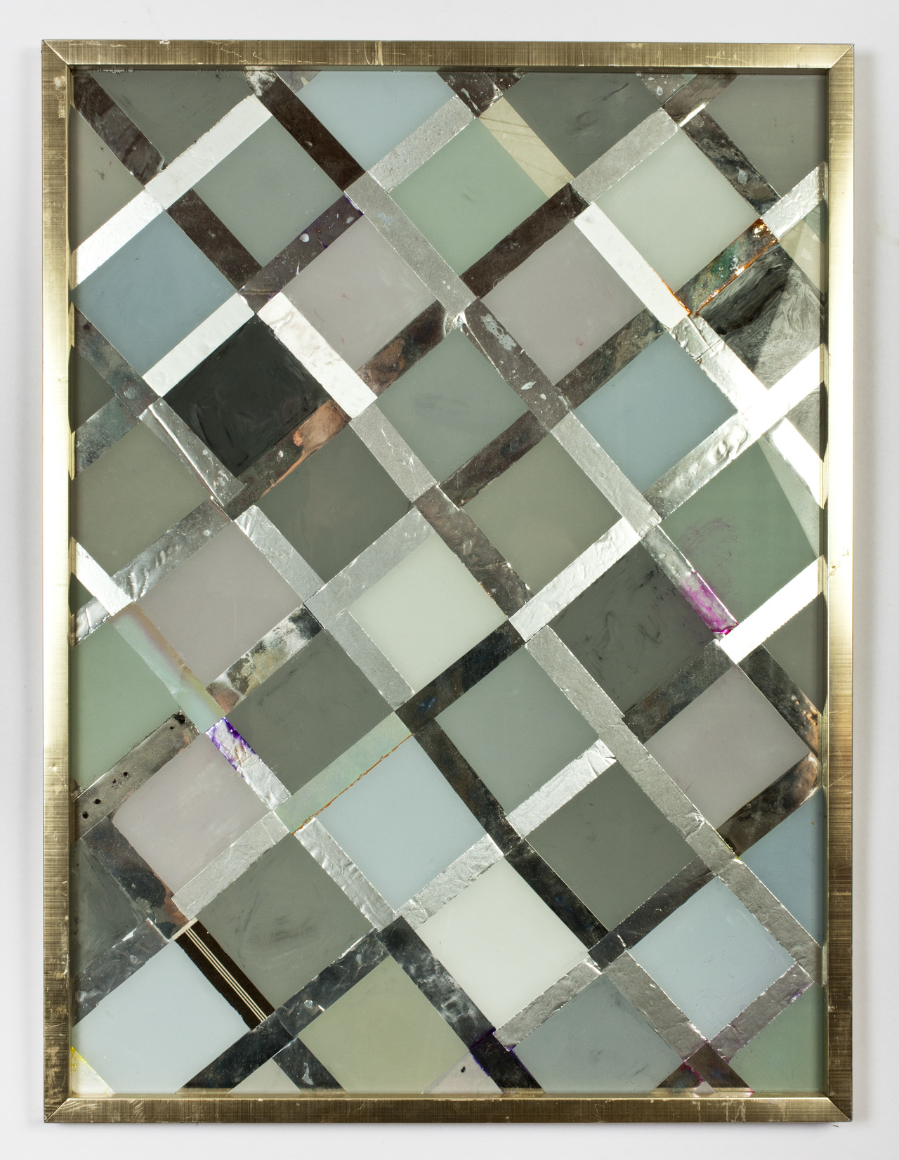 nicecollection :     Brian Belott - Refrigerator, reverse glass painting, collaged various foils, 2012