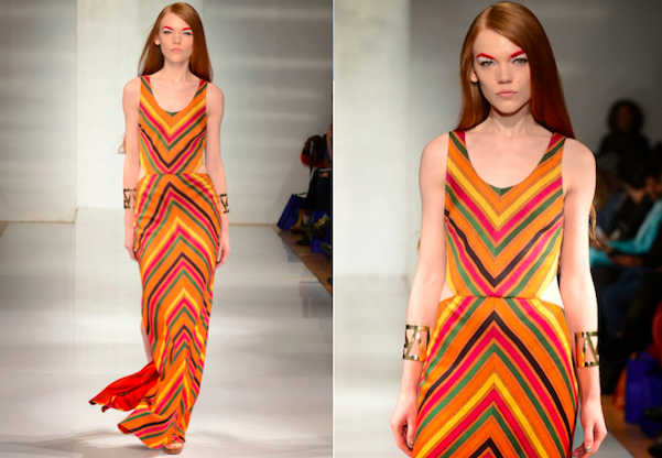 Fall-Winter 2014 Handloom Stripe Maxi Dress, on the runway, courtsy Udor Photography