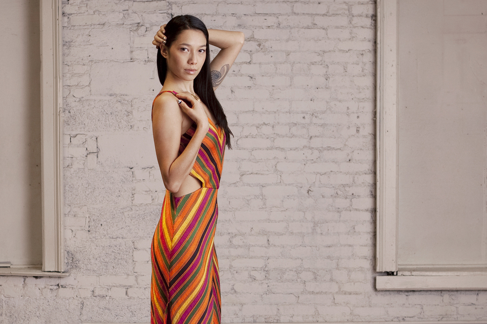 Handloom Silk Chevron Dress