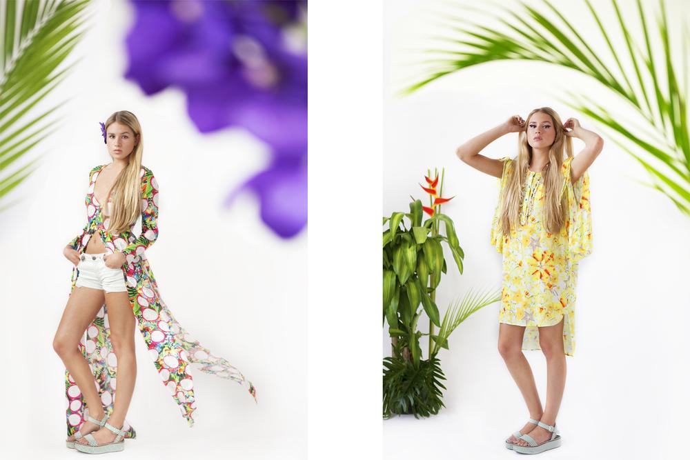 Paradise Silk Crepe Maxi Shrug  Starburst Rayon Voile Shirtdress