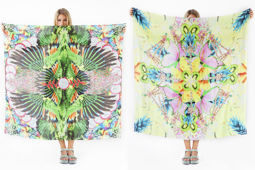 Paradise and Starburst Mandala scarves in Cotton or Rayon Voile