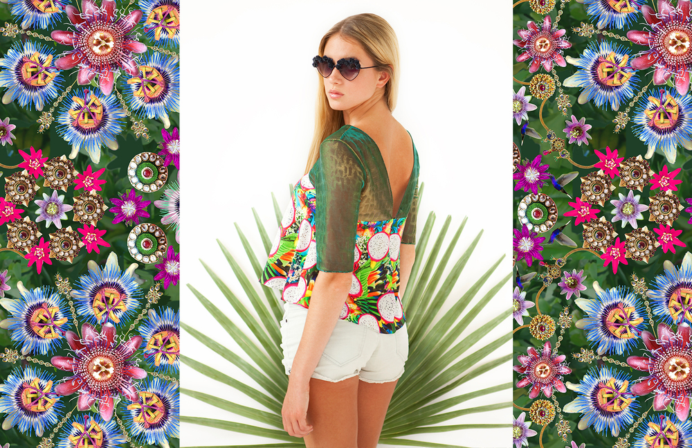 Paradise Mesh Yoke Blouse    Passion-Flower Print shown here.