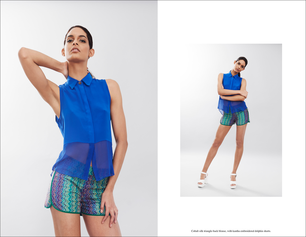 Abacaxi Cobalt silk triangle-back blouse, with kantha embroidered dolphin shorts..jpg