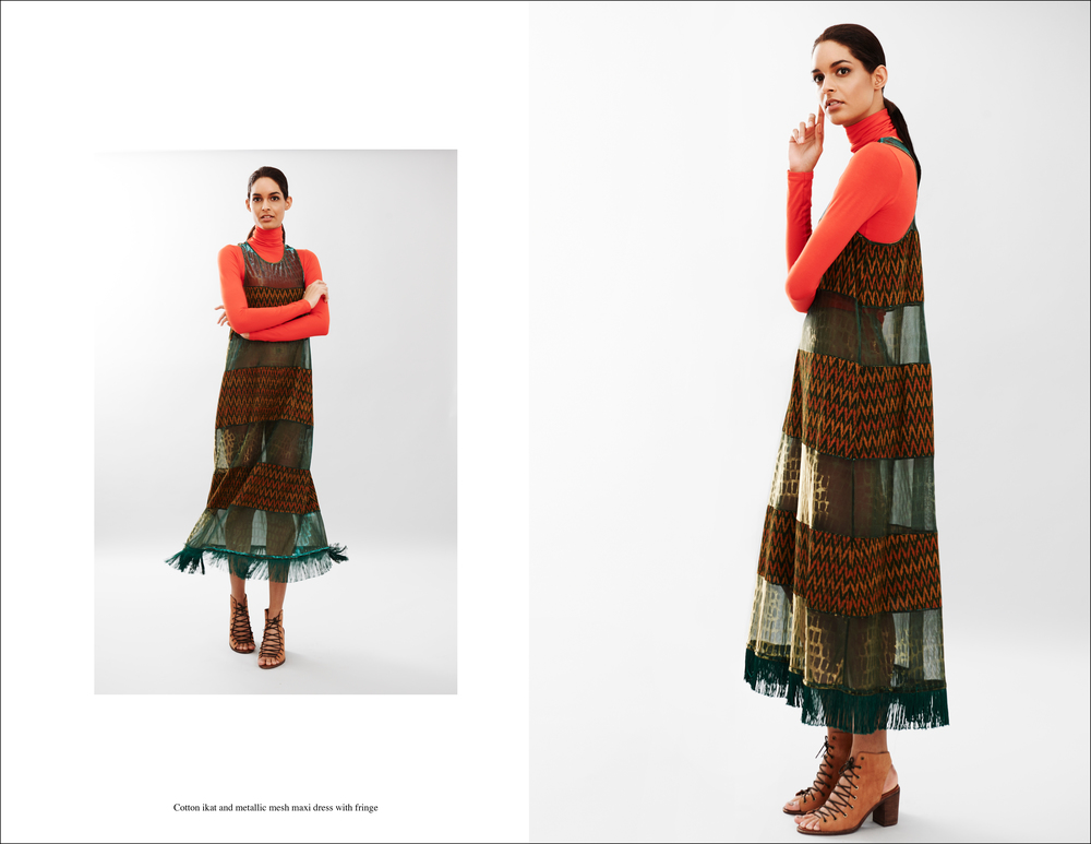 abacaxi cotton ikat and metallic mesh maxi dress with fringe.jpg