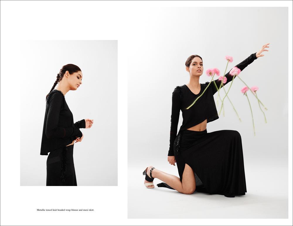 abcaxi Metallic tencel knit beaded wrap blouse and maxi skirt.jpg