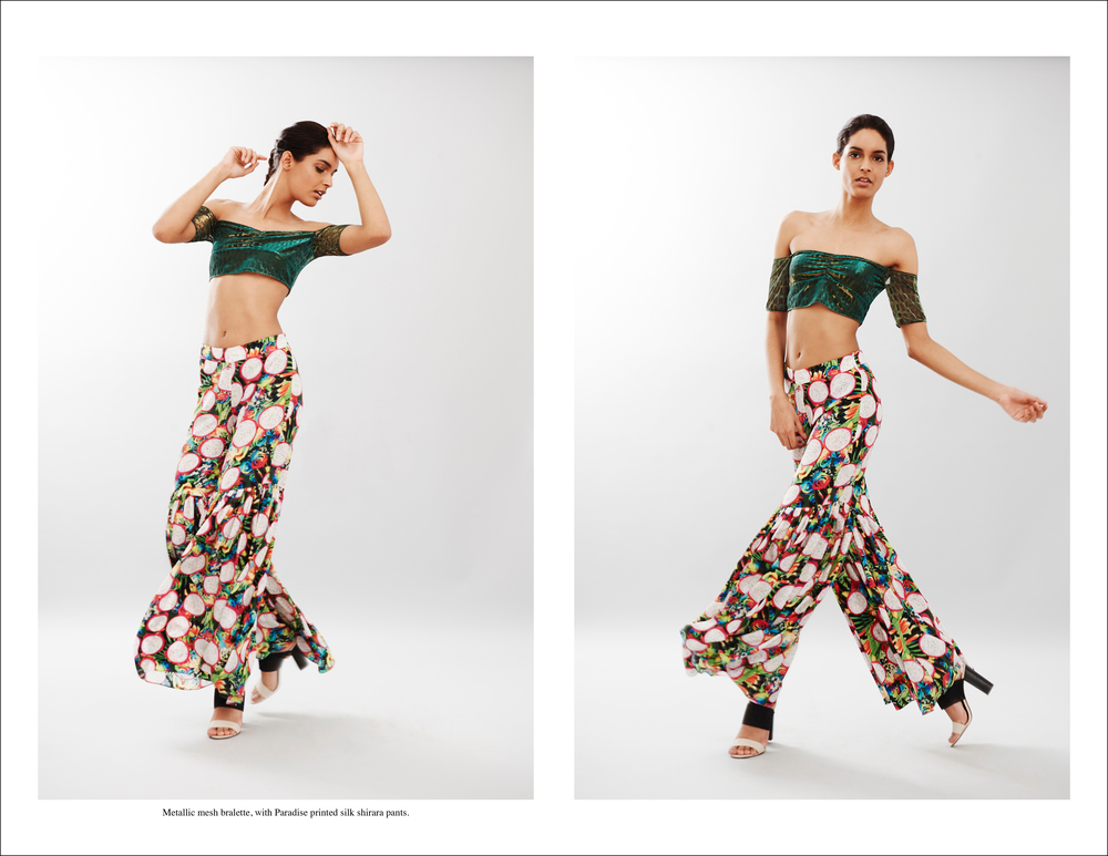 abacaxi Metallic mesh bralette, with Paradise printed silk shirara pants.jpg