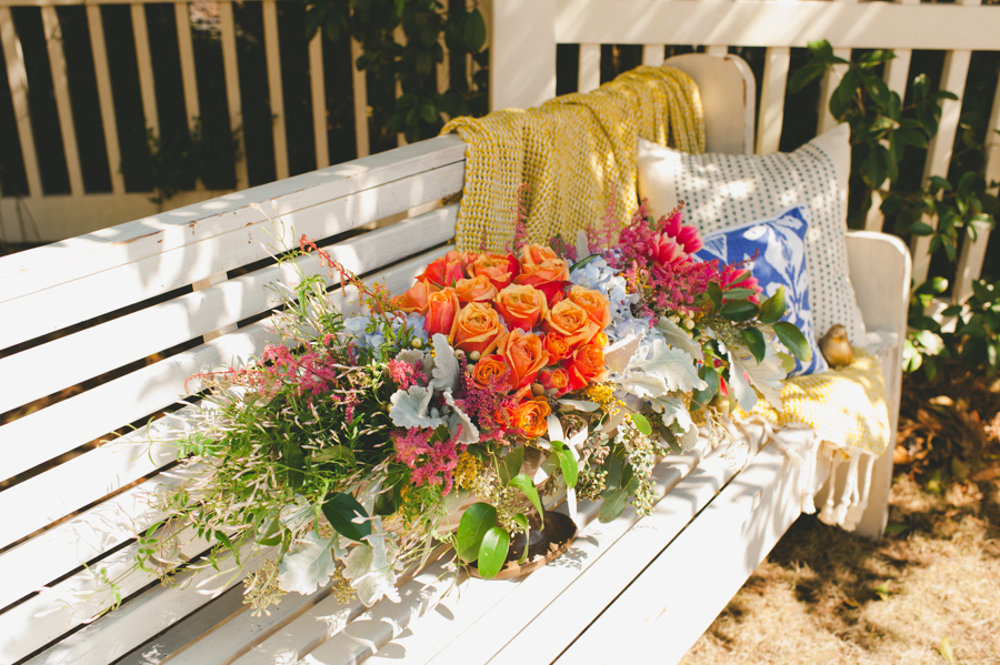 Church pews at a Shibori Styled Shoot