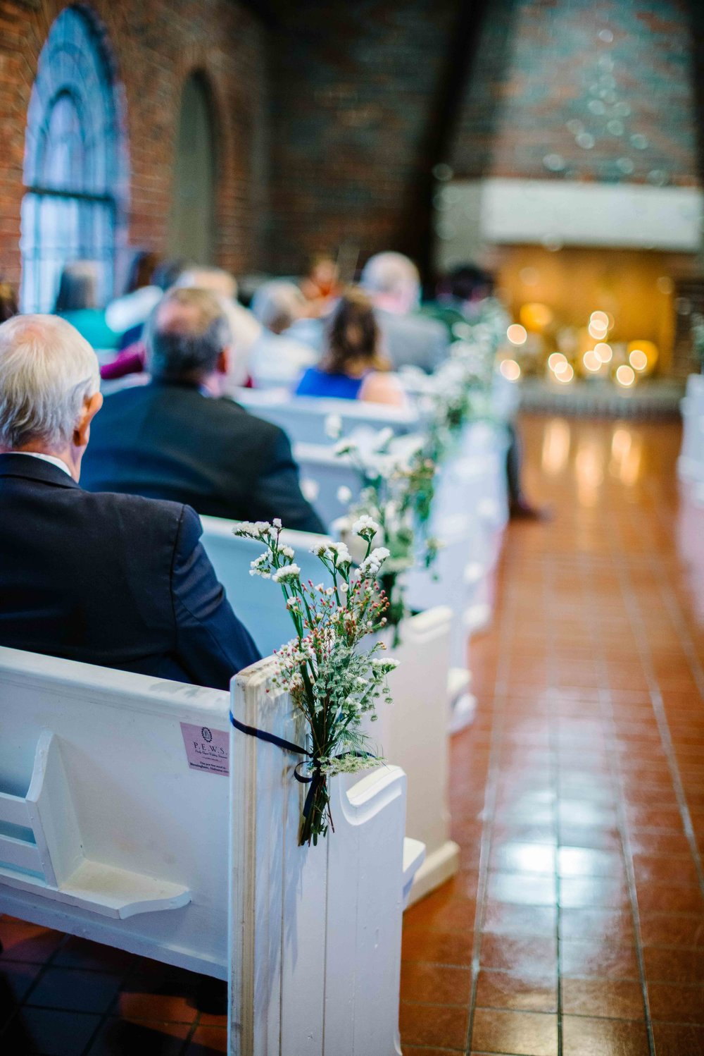 Church Pews at Avondale Villa Winter wedding